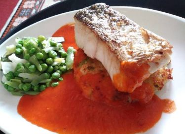 Grilled Hake with a Spicy Tomato Sauce